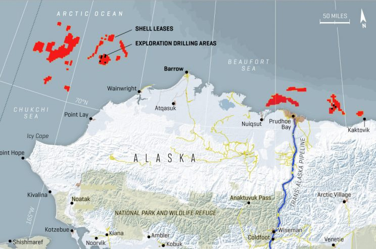 [Photo: Shell drilling areas]