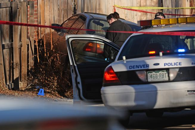 January 2015: The scene at which Denver Police officers fired into a car, killing 17-year-old Jessie Hernandez. Source: Denver Post