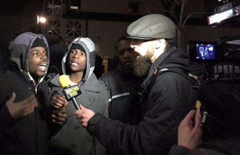 Unicorn Riot media team interviews community at 4th Precinct. Photo by @mosaicgraffiti