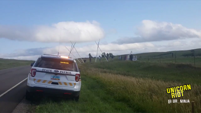 Standing Rock Tribal Members & Allies Block Entrance to Pipeline Construction Site