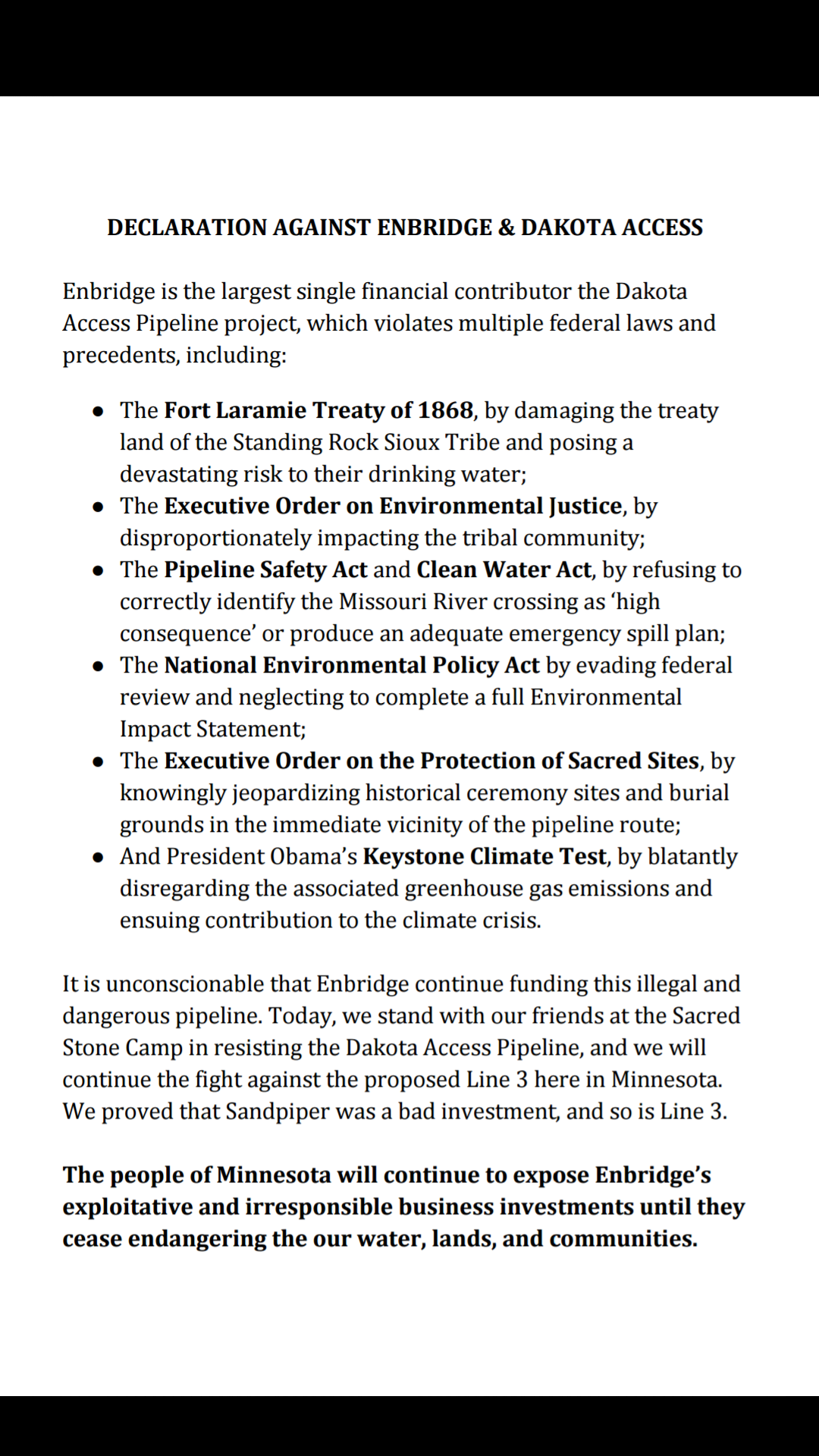 Declaration against energy companies Enbridge and Dakota Access, handed out today to Enbridge employees