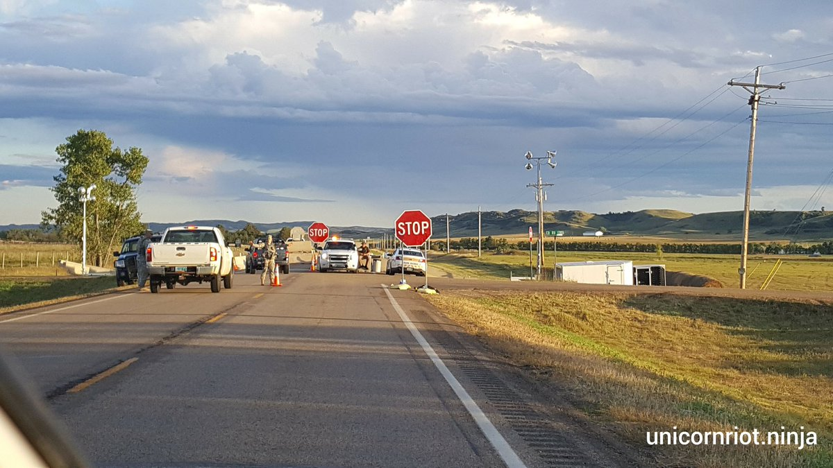 National Guard begin operations at Highway 1806 checkpoint south of Mandan, ND, late on Sept 8th
