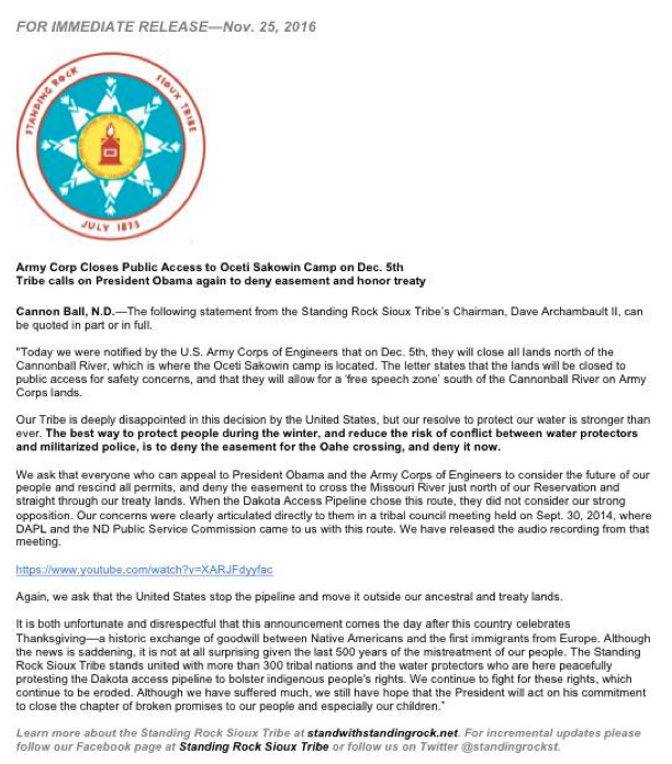 Statement by the Standing Rock Sioux Tribe