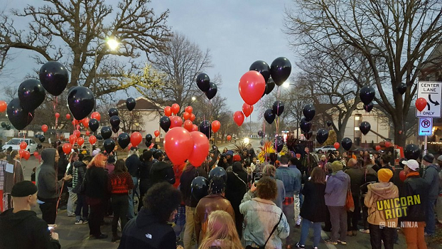Jamar Clark Remembered a Year Later with Balloons & Fireworks
