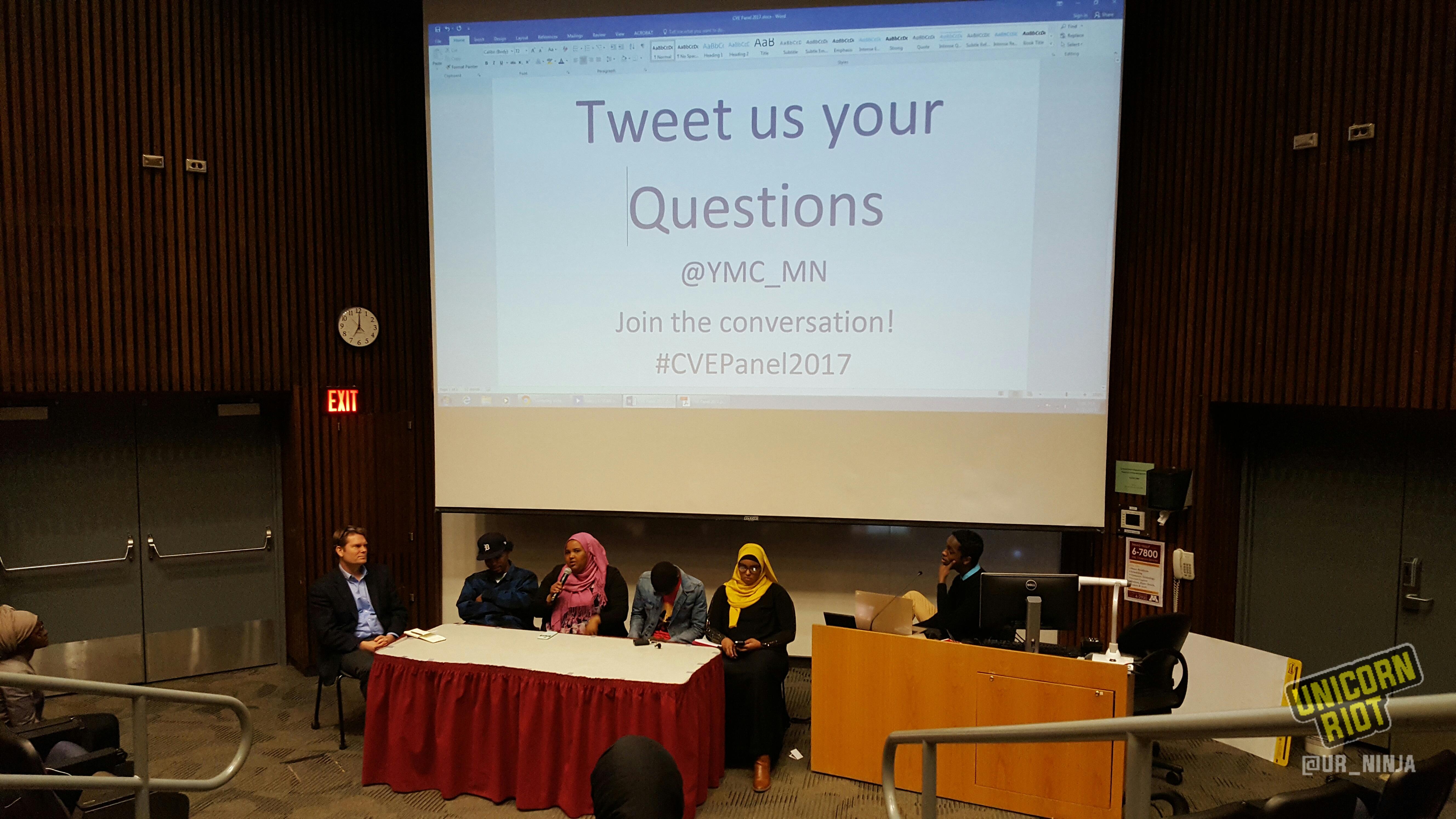 Panelists speak at the CVE Panel 2017