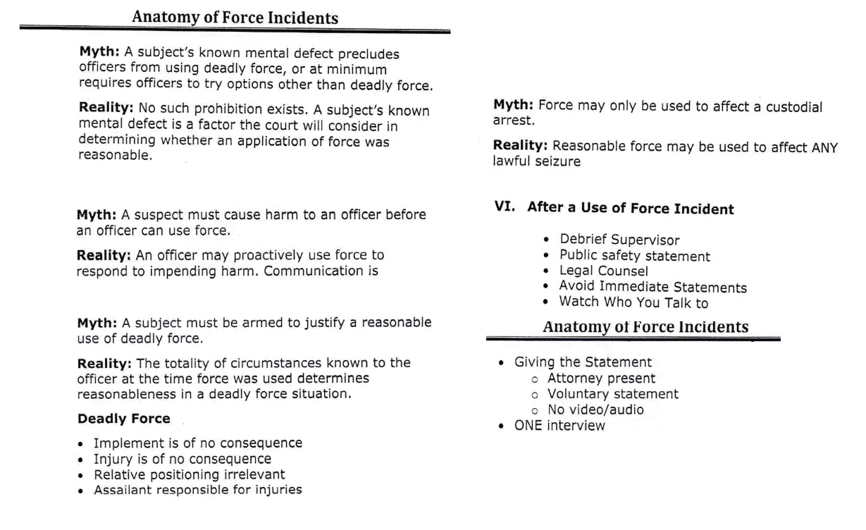(L) Page 8 + (R) Page 11 – Anatomy of Force Incidents Training Manual [2014]