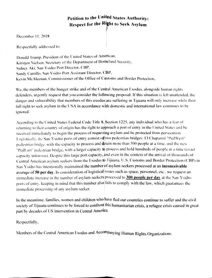 Pueblos Sin Fronteras Letter