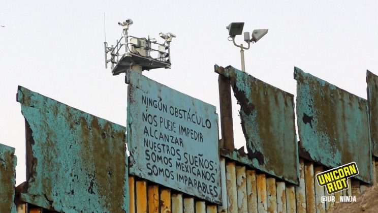 Border wall, with cameras