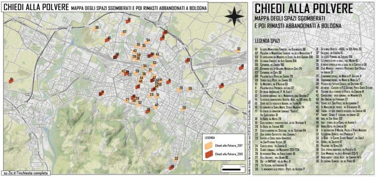 map of evicted social centered in Bologna