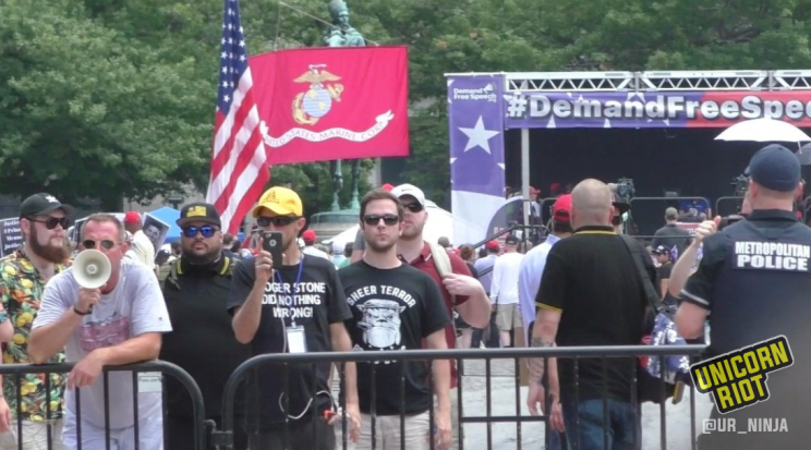 """Sheer Terror Proud Boys"" shirt spotted at July 6, 2019 ""Demand Free Speech"" rally in Washington, D.C. Sheer Terror is an anti-racist hardcore punk / metal band from NYC."