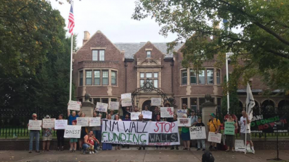 Protest outside of MN Gov. Walz' mansion against Elbit Systems.