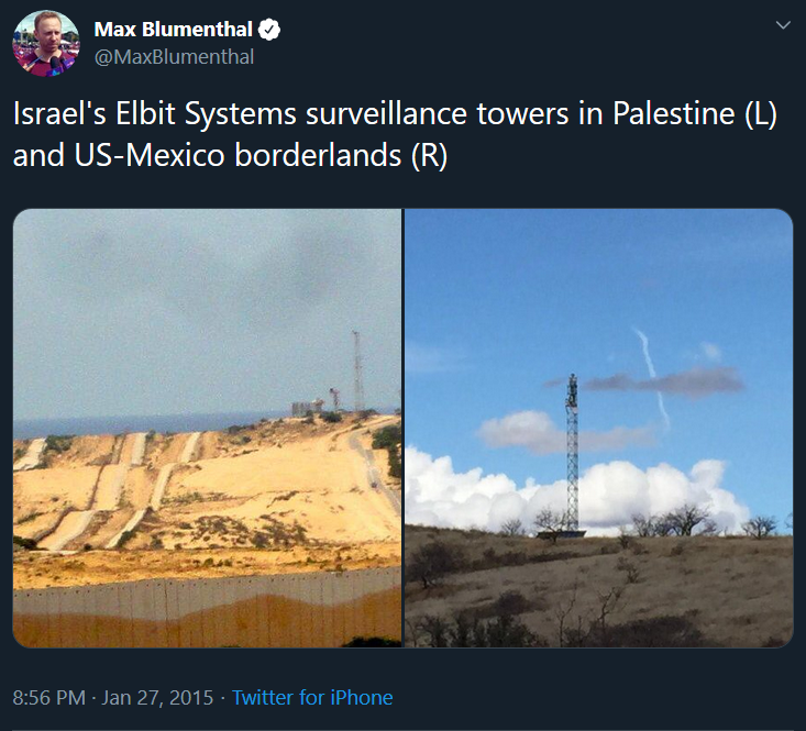 Two photos side-by-side showing a surveillance tower in Palestine (L) and on the Mexico-US borderlands (R), both built by Elbit Systems