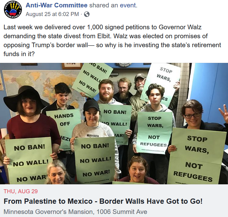 Anti-War Committee posted online, asking why Gov. Walz (who was elected on promises of opposing Trump's border wall) was using state funds to invest in the company helping to build it.