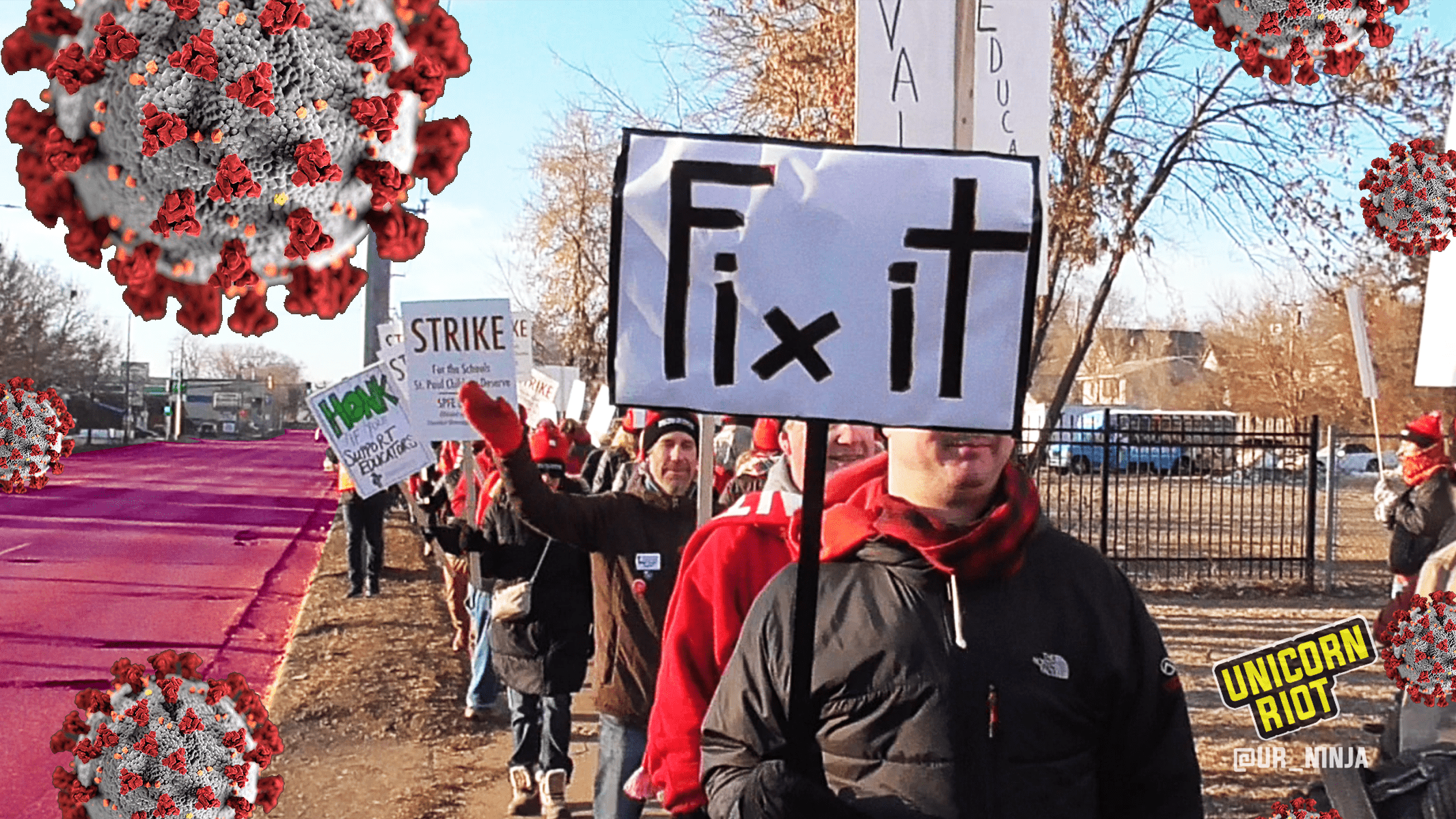 "Educators marching with picket signs the morning of March 10. One sign reads ""Fix It"" in bold letters. Superimposed over the image are graphics of the COVID–19 novel coronavirus."