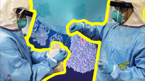 Image shows two medical personnel wearing full-body personal protective equipment, including blue nitrile gloves, surgical masks, and face shields. The medic on the right is holding a test swab in their right hand and a vial in their left; the person on the left is holding information about the sample.