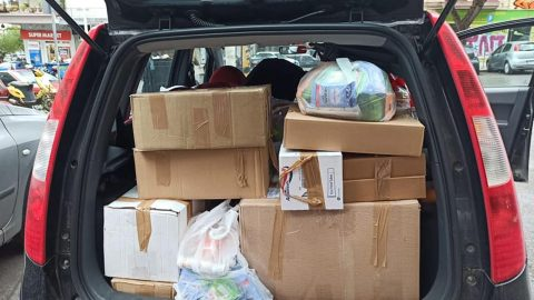 Car packed with supplies for women detainees at Petrou Ralli