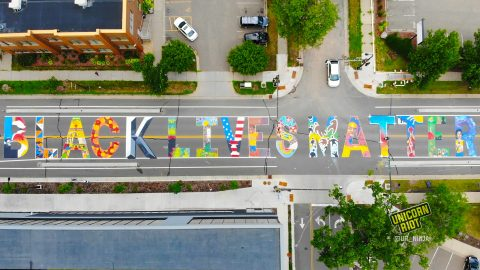 Street Sized Painting of Black Lives Matter Mural in Minneapolis