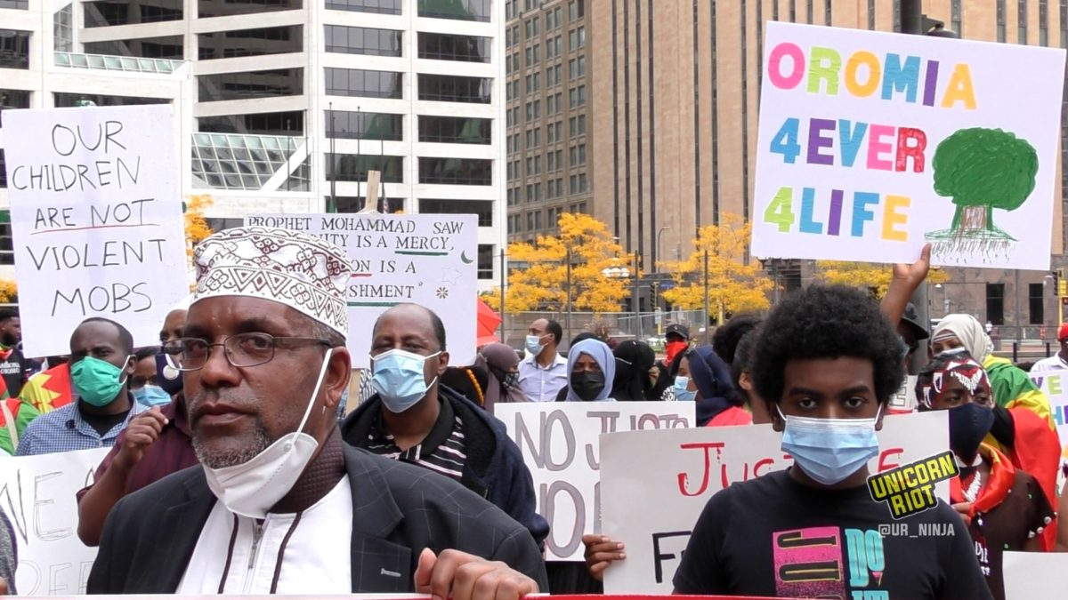#OromoProtests: Demonstrators march through downtown Minneapolis on September 25, 2020
