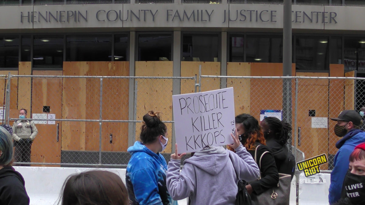 protesters gathered outside courthouse of george floyd hearing