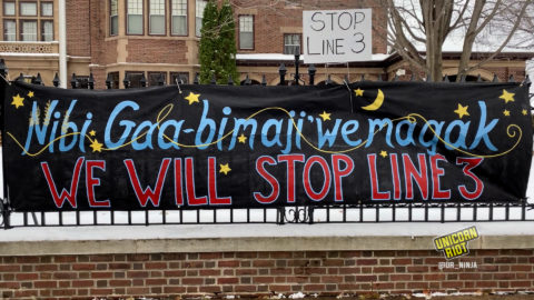 """""""we will stop line 3"""" banner"""