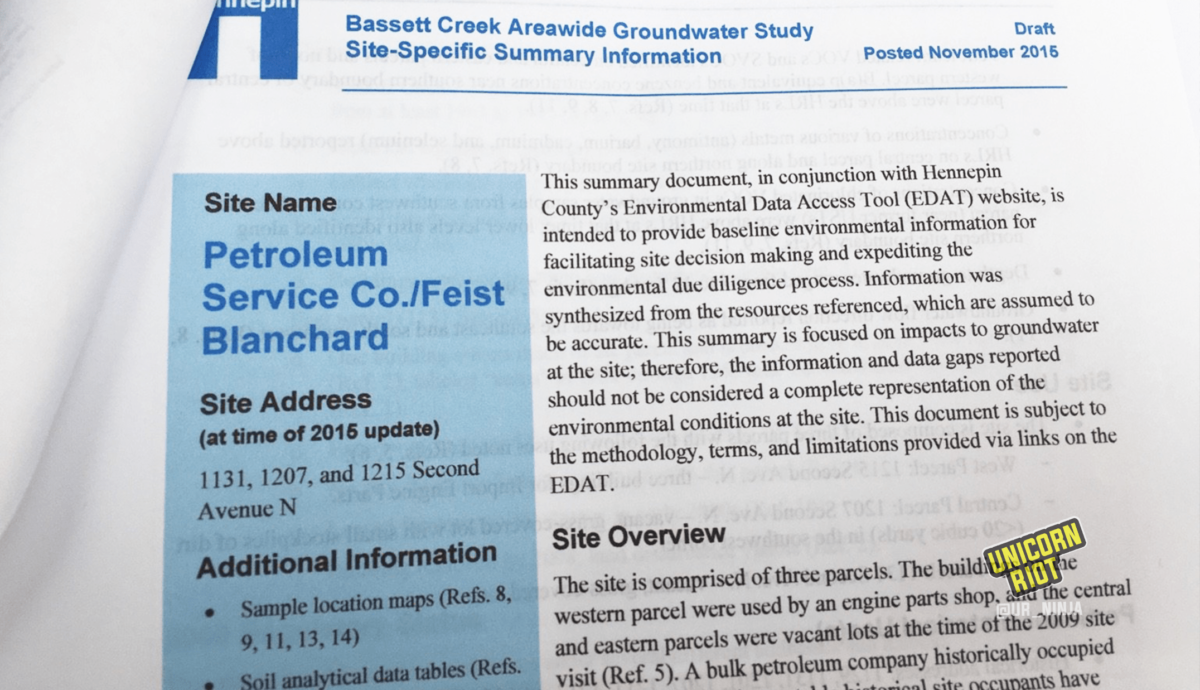 image: photograph of printout of Bassett Creek Areawide Groundwater Study Site-Specific Summary Information