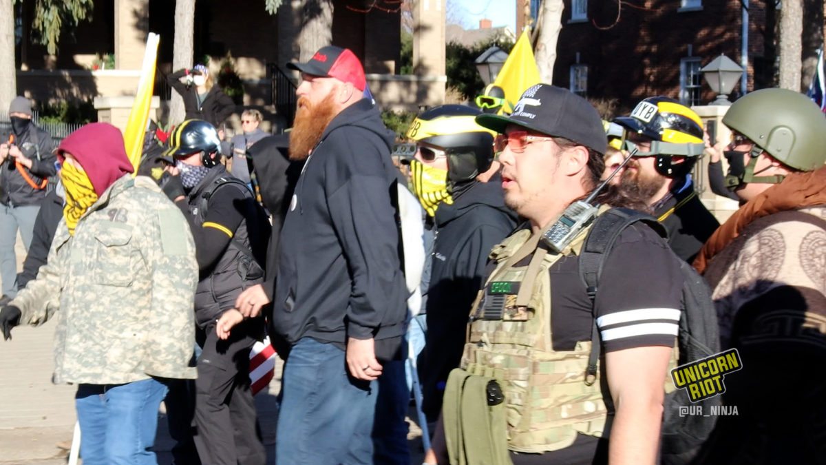 chad rafdal standing next to proud boys after small scuffles with antifascists