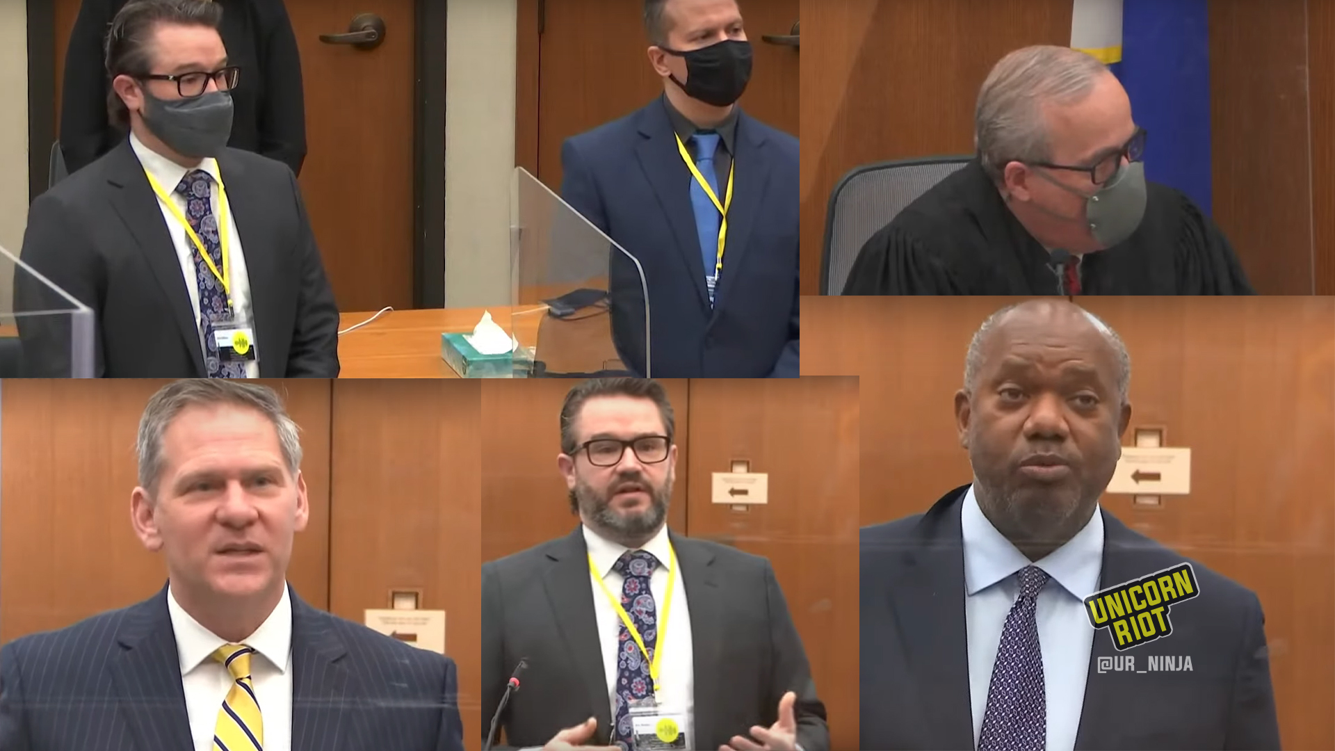 Collage of prosecution and defense attorney's and Judge Cahill