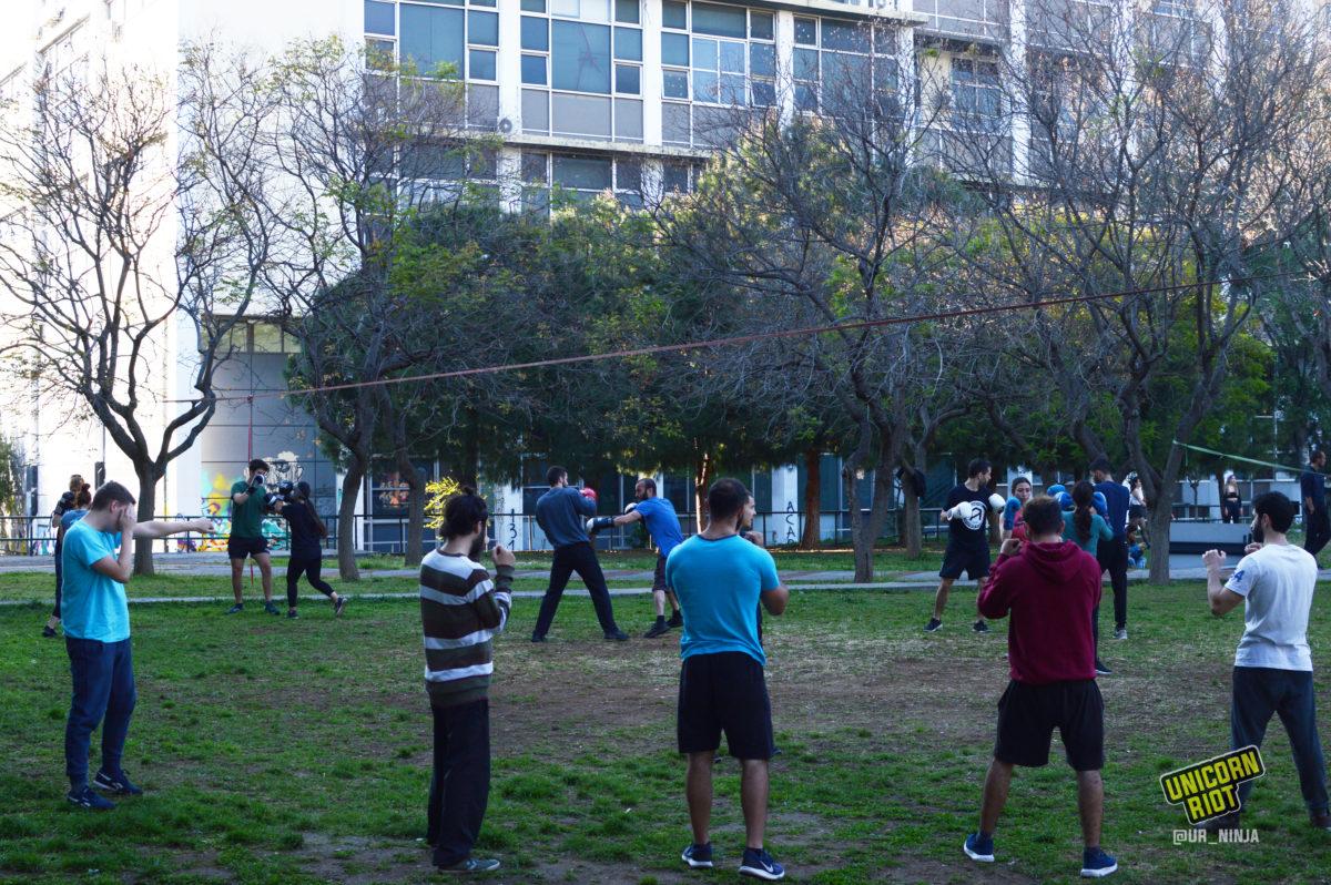Open training of an antifascist martial arts club at Thessaloniki University
