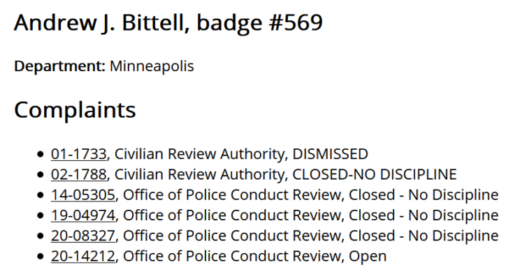 Sgt. Bittell has six known complaints in Communities United Against Police Brutality's Police Complaint Look-Up